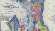 Historic map of Seattle showing areas in different colors.