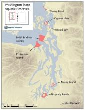 Location of eight aquatic reserves in Washington. Map: WA DNR