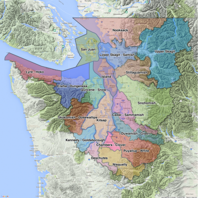 Water Resource Inventory Areas (WRIA). Map: Kris Symer. Data source: WAECY.