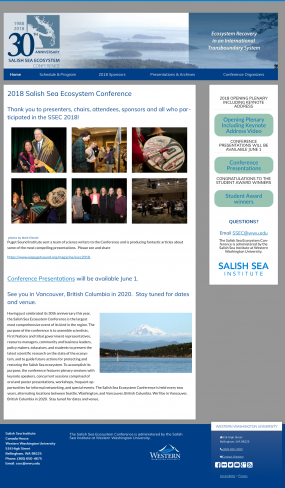 Screenshot of Salish Sea Ecosystem Conference website from 6/26/2018. https://wp.wwu.edu/salishseaconference/
