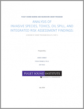 report cover: Analysis of invasive species, toxics, oil spill, and integrated risk assessment findings