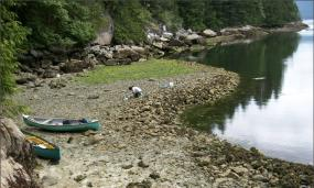 Human-built clam gardens are found in the lower intertidal zone and characterized by a level terrace behind a rock wall. Photo: Amy S. Groesbeck