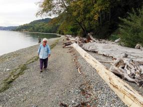 Pat Collier walking along the restored beach in front of her Maury Island home. Photo: Christopher Dunagan/PSI