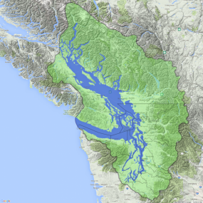 Salish Sea basin and water boundaries. The Salish Sea water boundary (blue) includes the Strait of Georgia, Desolation Sound, The Strait of Juan de Fuca, and Puget Sound. The larger watershed basin (green) is the area that drains into Salish Sea waters. WA Water Resource Inventory areas (WRIA) boundary lines are shown for reference. Map: Kris Symer. Data: Stefan Freelan; WAECY.