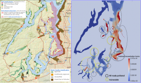 Locations of shellfish beds in the Salish Sea (left) compared to regions predicted by the Salish Sea Model to have high microplastic accumulation (right). Maps: PNNL