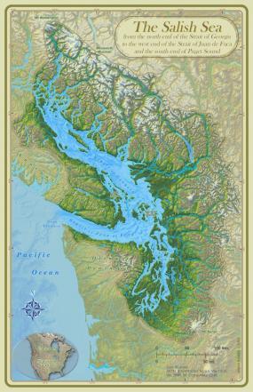 Map of the Salish Sea & Surrounding Basin. Map: Stefan Freelan https://flic.kr/p/6adqMP (CC BY-NC 2.0)