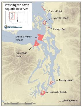 Location of eight aquatic reserves in Washington. Map: WA DNR