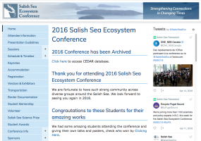 Screenshot of archived SSEC 2016 website at http://www.wwu.edu/salishseaconference/archived/2016/