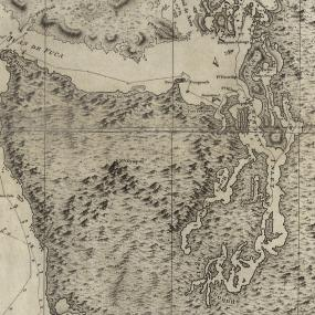"""Puget Sound portion of a 1798 chart showing """"part of the coast of N.W. America : with the tracks of His Majesty's sloop Discovery and armed tender Chatham / commanded by George Vancouver, Esqr. and prepared under his immediate inspection by Lieut. Joseph Baker."""" Credit: Library of Congress, Geography and Map Division."""