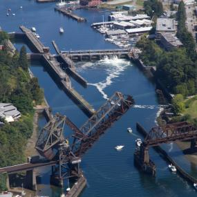 Ballard Locks from the air. Photo: Jeff Wilcox (CC BY-NC 2.0) https://www.flickr.com/photos/jeffwilcox/4805933588