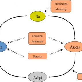 Figure 1. The adaptive management process used in the Action Agenda and Science Plan for the Puget Sound Partnership (page 4).