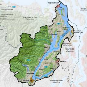 Hood canal watershed boundaries; image courtesy of the Puget Sound Partnership