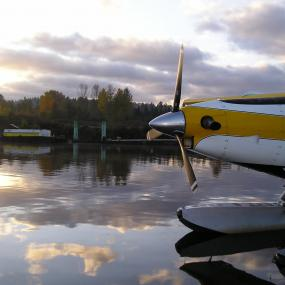 The float plane prepares to take off. Photo by Jeff Rice for the Encyclopedia of Puget Sound.