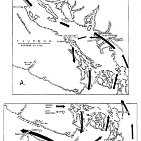 Figure 13. Prevailing surface wind patterns over the Strait of Georgia region (A) and Juan de Fuca Strait (B) (page 59)
