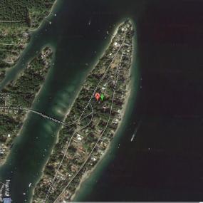 Satellite image of Treasure Island courtesy of Google Maps; arrow shows recording location