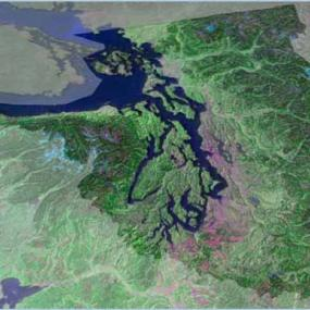 Map image of Puget Sound and surroundings. Courtesy of USGS.