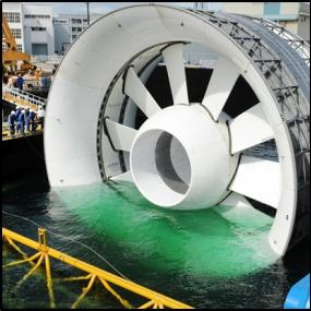 Tidal turbines like this one developed by OpenHydro, Ltd. will be installed in Puget Sound in mid 2015 as part of a demonstration project. Sustainable, large-scale development of tidal energy will require studying and learning from these early-stage projects. Image source: OpenHydro, Ltd./DCNS