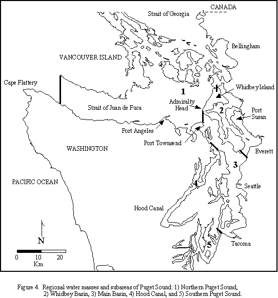 Map of regional water masses and subareas of Puget Sound
