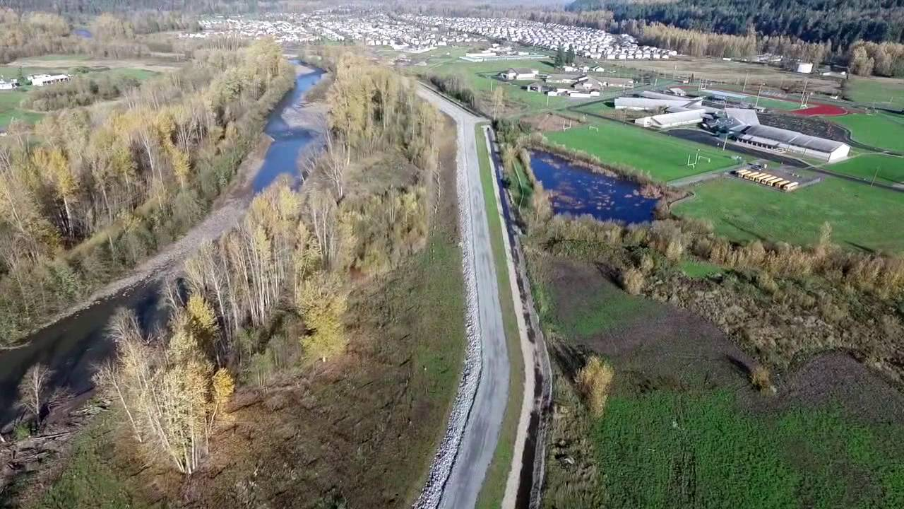 2016 aerial view of completed Calistoga Reach levee project in Orting, WA. Image courtesy: CSI Drone Solutions and Washington Rock Quarries, Inc. Video: https://www.youtube.com/watch?v=2H_NK6U2_zw