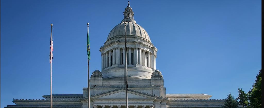 Washington state capital dome against blue sky