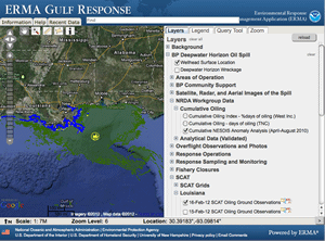Screenshot of ERMA Gulf Response application