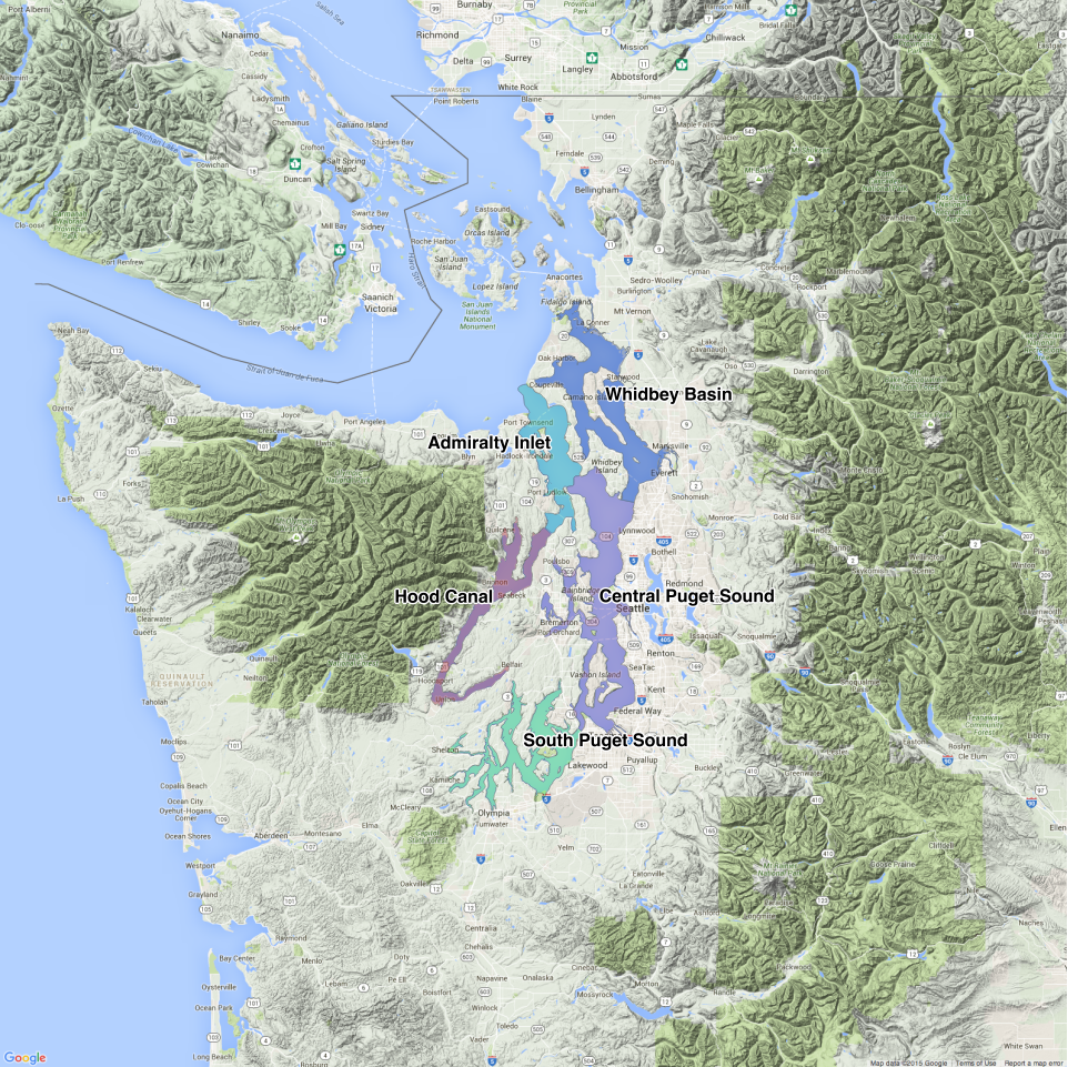 Geographic boundaries of puget sound and the salish sea puget sound basins map kris symer data source wdfw sciox Choice Image