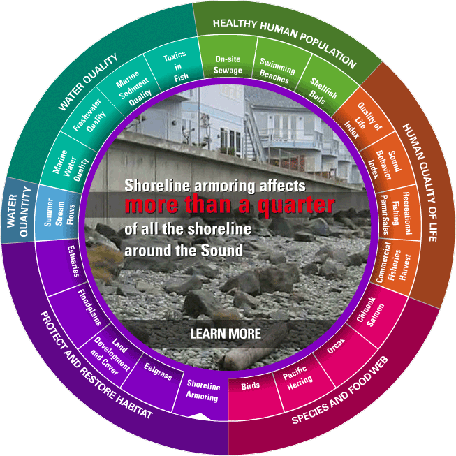 Vital Signs Wheel (Shoreline Armoring highlighted). Credit: Puget Sound Partnership