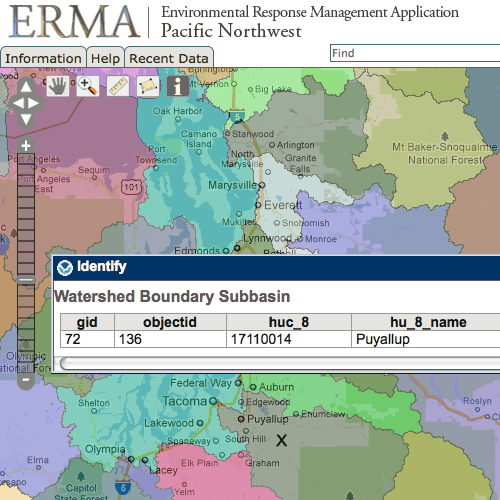 Screenshot of NOAA's ERMA online mapping tool