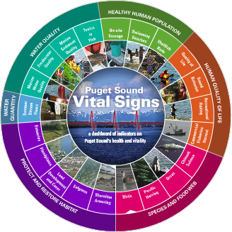 Vital Signs Wheel (birds highlighted). Credit: Puget Sound Partnership